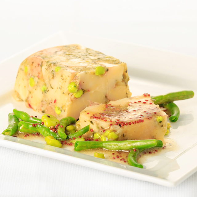 A vegetable terrine can be as special as a meat terrine, this wonderfully light and elegant pea and potato combination is summer on a plate for me.