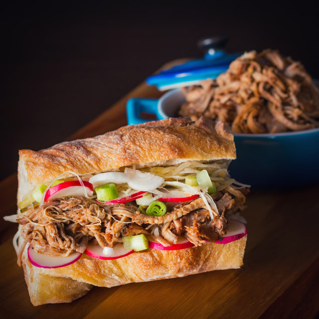 An incredibly simple long and slow cooked pulled pork makes the perfect filling for the most incredible pulled pork sandwich!