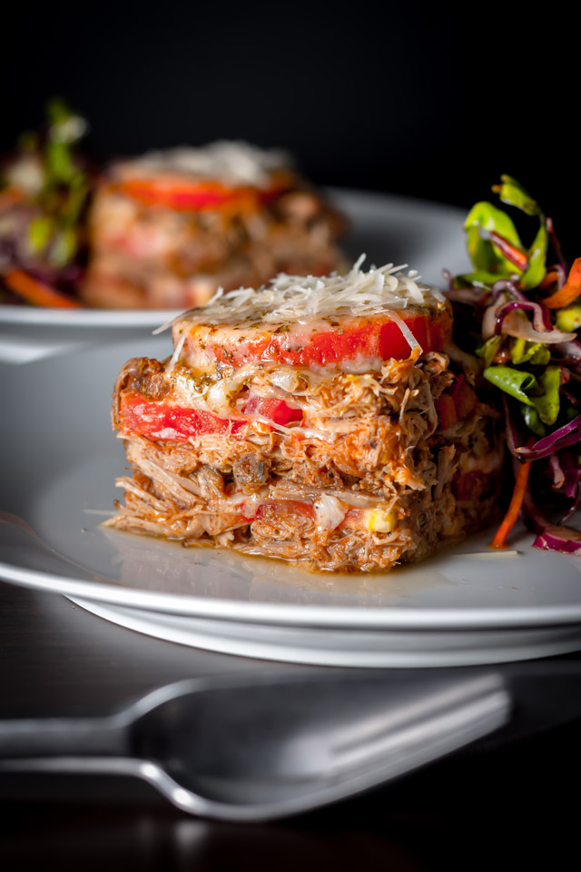 Pulled Pork is not just for sandwiches, these tomato and mozzarella cheese stacks are a perfect way to use up left over pulled pork!