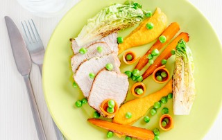 This roasted pork loin with carrot recipe is a sideways look at the meat and two veg traditions of the British cooking I grew up with.