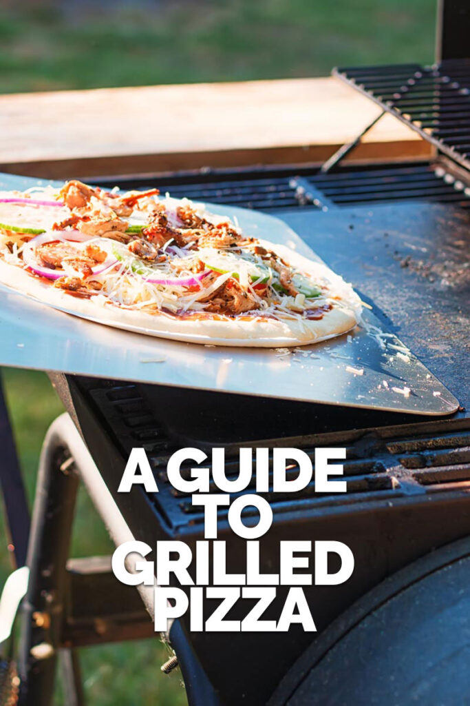 Tall image of a raw pizza being transferred to to a pizza steel on a bbq to become a grilled pizza with text