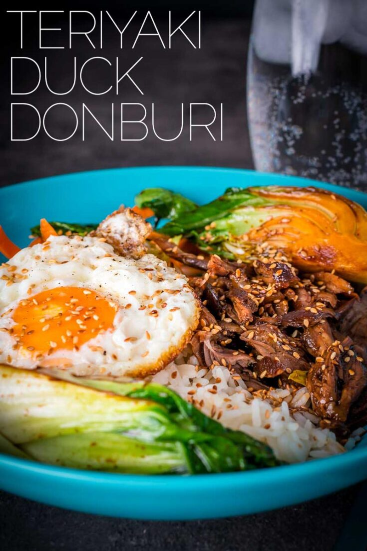 This Shredded Teriyaki Duck Donburi is a beautiful bowl of tasty goodness, slow-cooked duck leg served over rice with a host of other goodies. This is a fairly simple dinner and the result packs a real punch of flavour. #duckrecipe  #ricebowlsrecipes