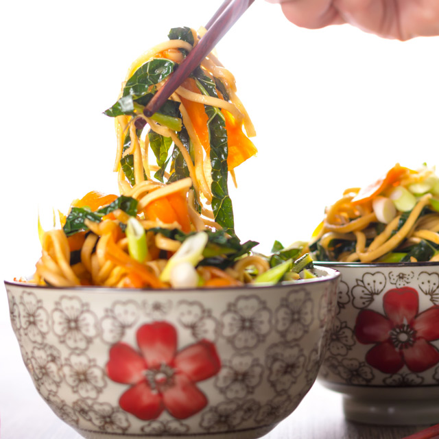Nothing to my mind is quicker and easier than a stir fried noodle dish and this sweet & sour carrot and kale number is hot with ginger and superb