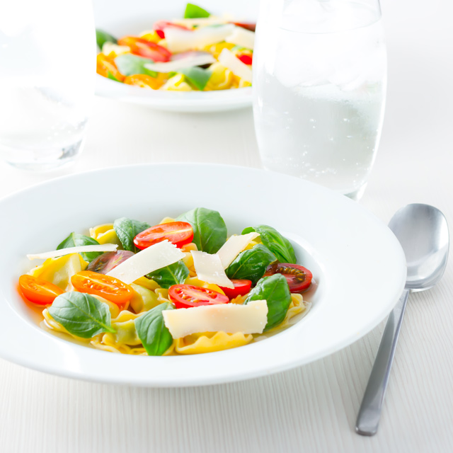 This recipe will probably taste more of tomatoes than anything else you have ever eaten, the tomato consomme in this simple pasta dish is pure perfection!