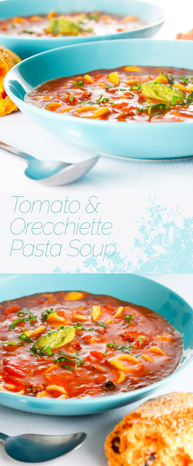 Fresh ripe summer tomatoes form the back bone of this Orecchiette Pasta Soup, this dish is full of the flavours of summer in my garden.