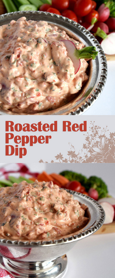 Cool, creamy, smoky, yet cheesy, fresh, and vibrant all make this Creamy Roasted Red Pepper Dip perfect dip to accompany any crudité.