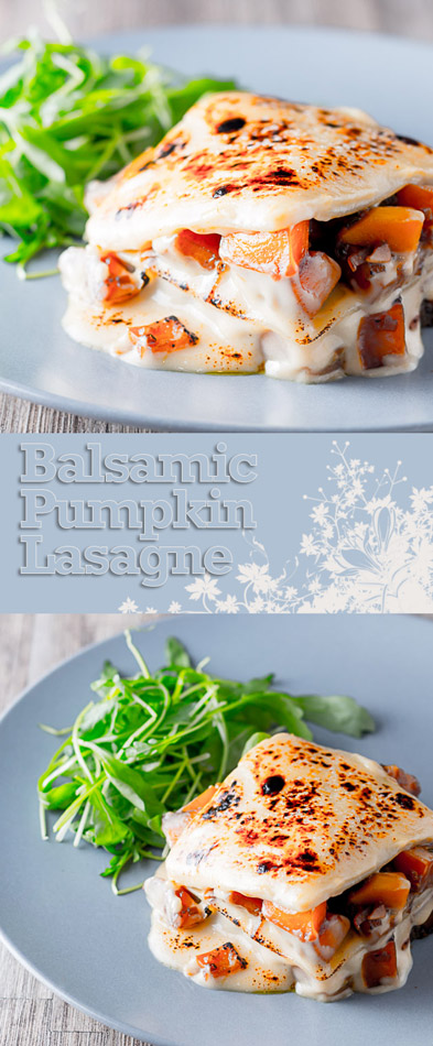 My Balsamic Pumpkin Lasagne evolved from an experimental pumpkin and sage dish, but the cheese sauce and pasta are perfect foils for the earthy pumpkin.
