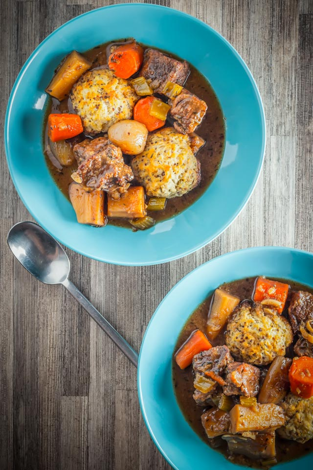 Nothing says winter to me quite like a hearty Beef Stew with obligatory suet dumplings to soak up the beer that is loaded with dark beer!