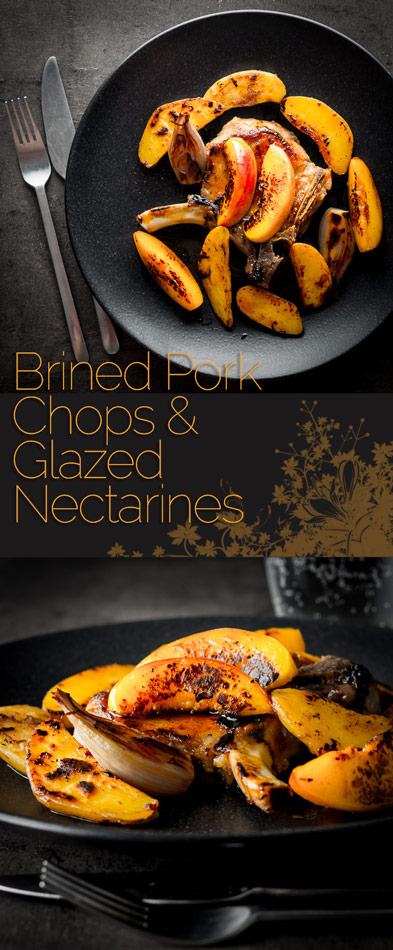Brined pork chops paired with some sweet yet salty glazed nectarines are a great alternative to the traditional pork with apple sauce combination.
