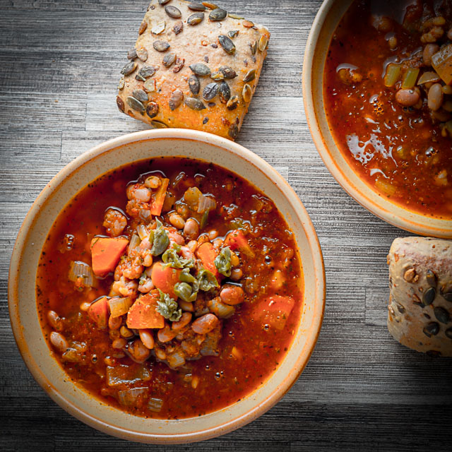 My hearty crockpot bean soup is a big and bold soup that plays homage to the work we put in throughout the year to keep our bellies full in winter!