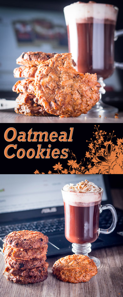 Crunchy on the outside, soft and chewy on the inside these Oatmeal Cookies are heady with the aromas of nutmeg and cinnamon and coconut and raisins to boot!