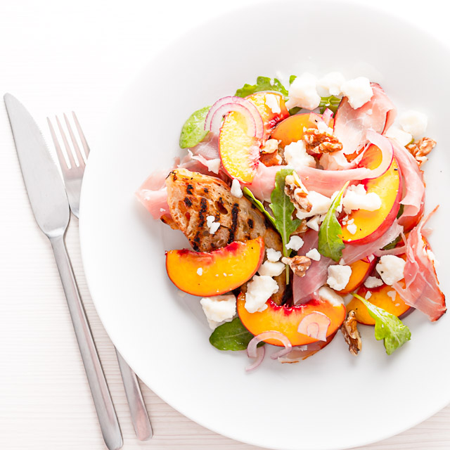 Ham, cheese and pickles are a well trodden path for a salad this pickled peach in the salad really sets itself apart from the rest!