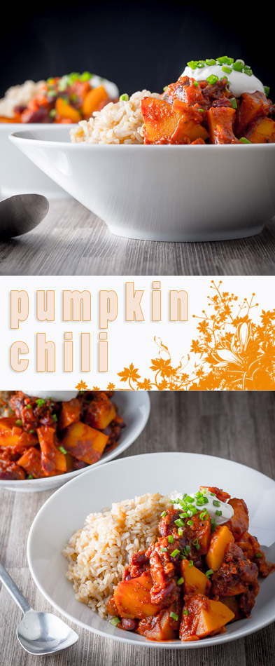 Who said chili needs beef? This spicy pumpkin chili will surprise and delight even the most committed of carnivores and may even turn a pumpkin skeptic!