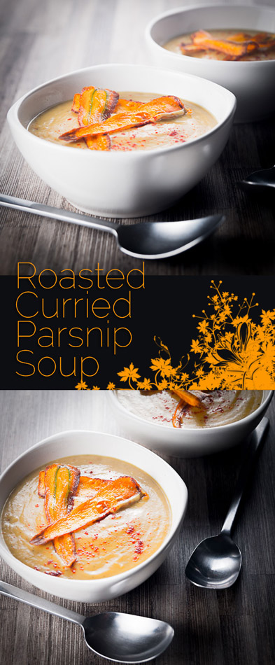 Roasting the Parsnips in this curried parsnip soup give a depth to the sweetness of the parsnip that marries perfectly with the mild curry flavours!