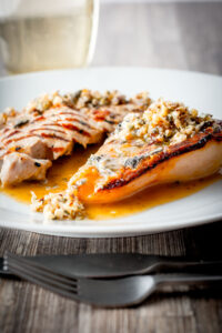 Classic flavours are at the forefront in this pork with roasted pear and blue cheese dish and it is all held together with a cider sauce.