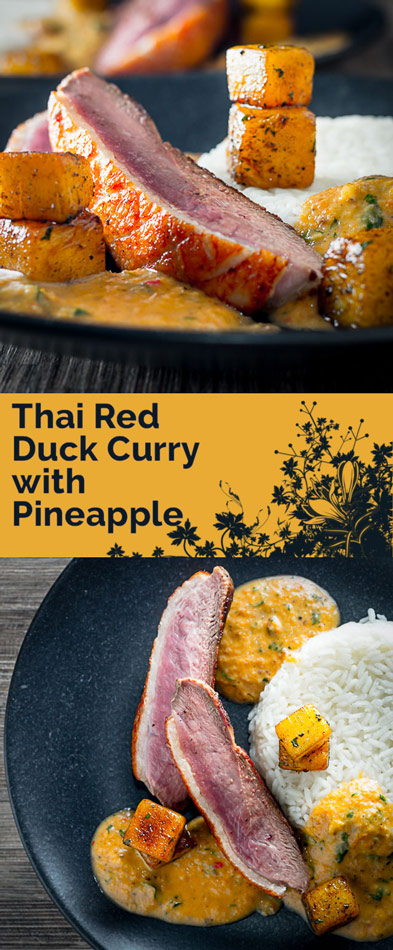This delicious and simple slightly deconstructed duck curry is full of the taste of Thai food and sweetened with pineapple.