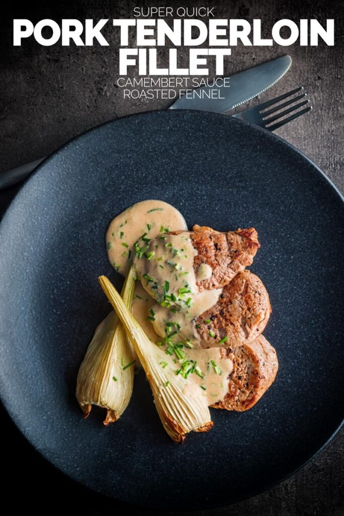 This Camembert Pork Tenderloin Fillet with Roasted Fennel recipe is a real fab quick recipe that pulls together in 20-25 minutes and packs a boatload of flavour! #30minutemeals #porktenderloinrecipes