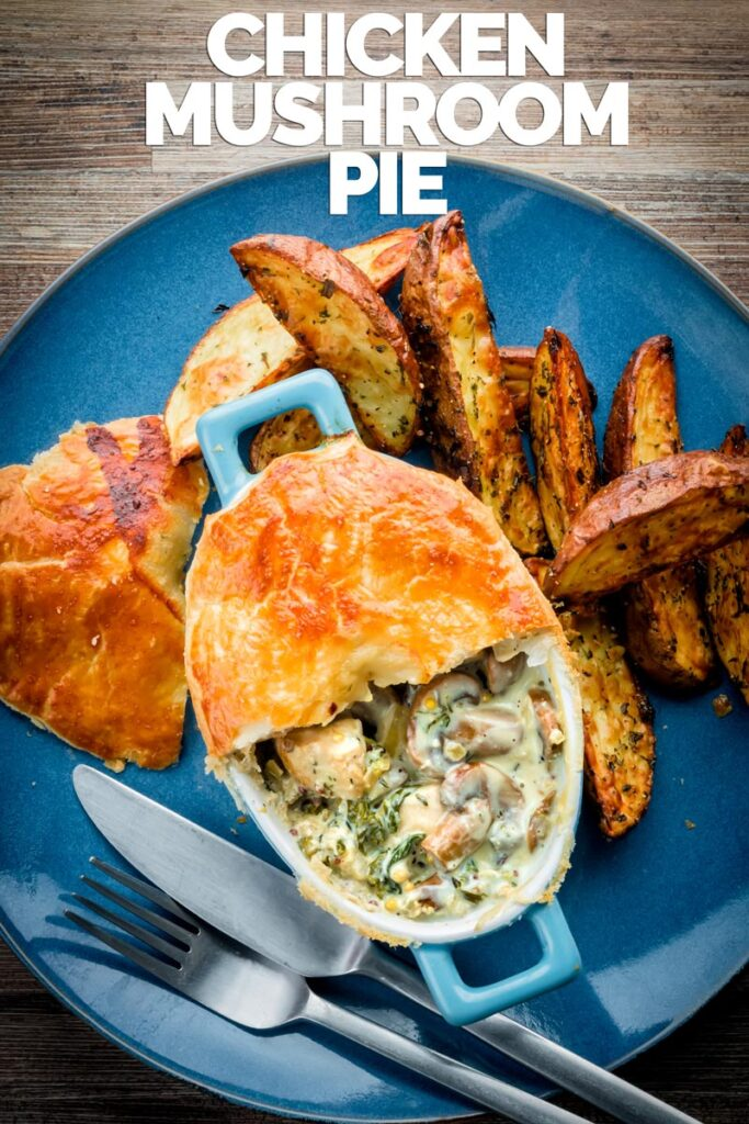 This easy Chicken and Mushroom Pie recipe is an all-time classic British pie, this one takes the pot pie approach using shop bought puff pastry for a quick and simple midweek dinner. #individualsavourypies #englishchickenpie