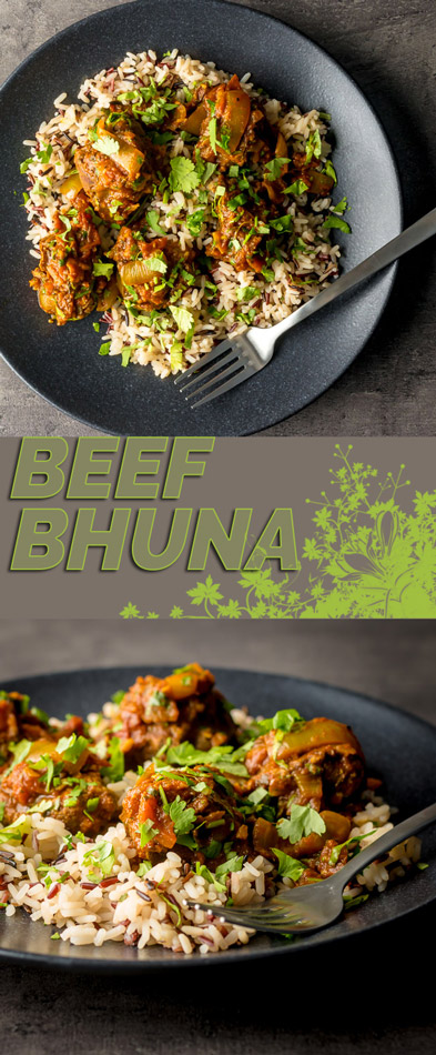 Bhuna is a perennial favourite in the British Indian Curry house and my beef bhuna works that typical thick clingy fragrant gravy heavy with fenugreek.