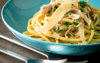 Rabbit is a much underused meat, delicate and lean it makes a perfect and simple sauce in this pot roast rabbit pasta recipe.