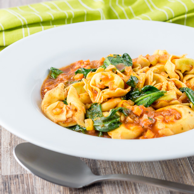 "This tortellini soup is a hearty main course style soup that is crazy quick to make, a perfect midweek pantry ""lifesaver"" full of great flavours!"