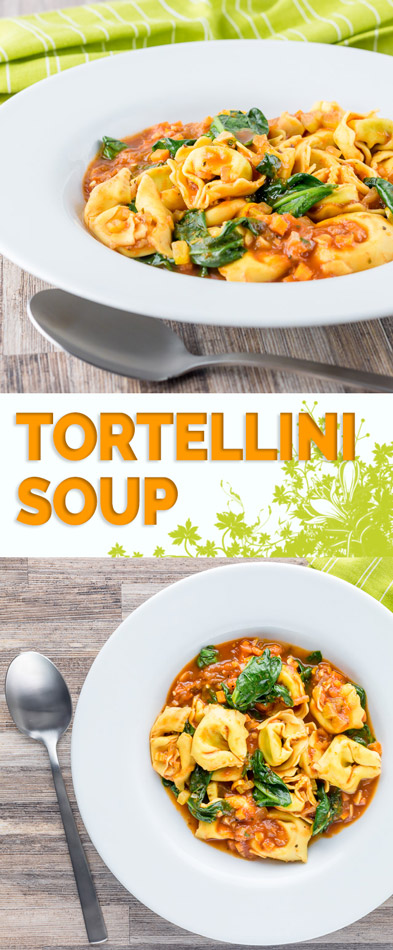 This tortellini soup is a hearty main course style soup that is crazy quick to make, a perfect midweek pantry