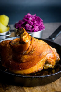 Popular across all of central Europe my version of beer roasted pork knuckle has definite Hungarian leanings with dark beer and caraway seeds.