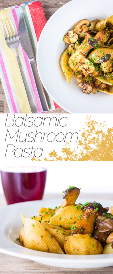 Mushrooms lend themselves so well to pasta dishes and this balsamic mushroom pasta features both chestnut mushrooms and 'french horn' mushrooms enriched with butter and Balsamic vinegar.