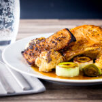 Any pork chops are great but these maple syrup and mustard glazed pork chops are good to the power of maple syrup and mustard and that is before we even get to the Cauliflower and Leeks!