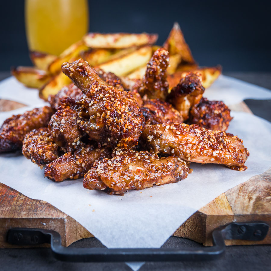 You can't beat buffalo chicken wings as finger food and these are pimped up with dates and a scotch bonnet chili in the glaze. Definitely not for the feint of heart!