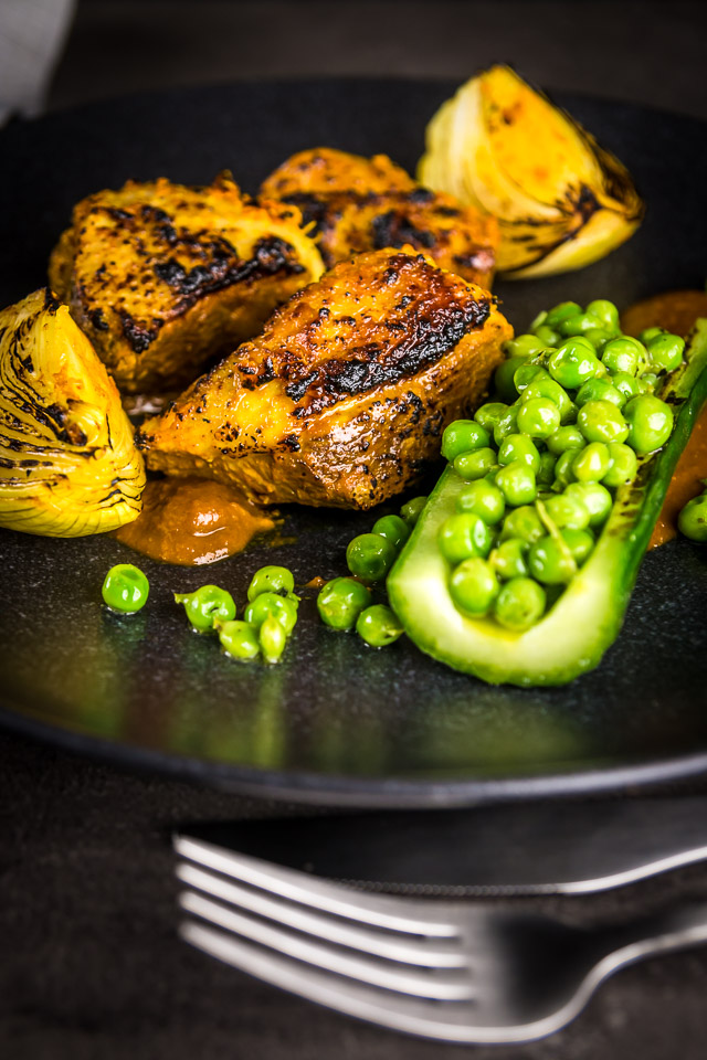 Tikka Masala goes fancy with this Duck Tikka Masala beautifully grilled with a tamarind and honey sauce, cucumber and peas!