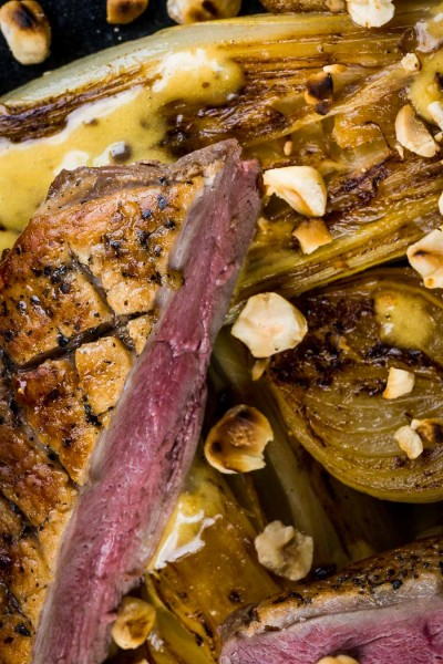 This perfectly pan fried duck breast utilises the cold pan method and is bundled with some gloriously braised endive and a sexy anchovy sauce.