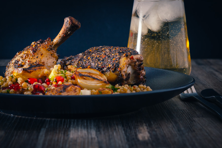 Za Atar Chicken Legs With Giant Couscous Krumpli
