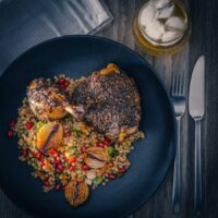 Za'atar Chicken Legs with Giant Cous Cous