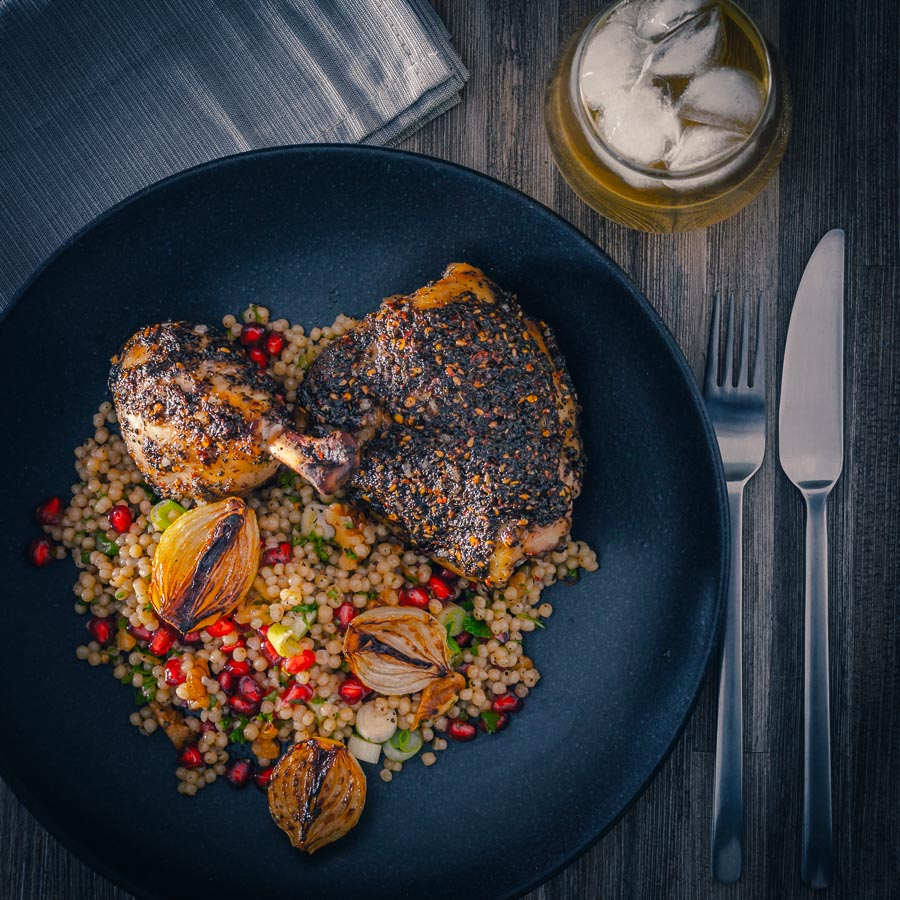 Za Atar Chicken Legs With Giant Cous Cous Krumpli