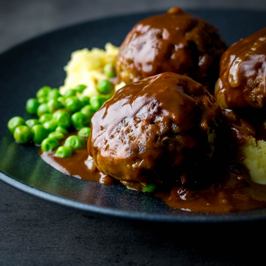 Faggots and Mash were the meatballs I grew up with a staple of the Midlands in the UK have sadly fallen out of favour but these old skool classics are still my favourite!