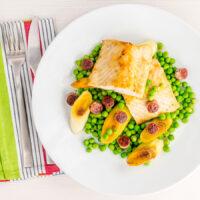 Pan Fried Cod with Peas and Leeks