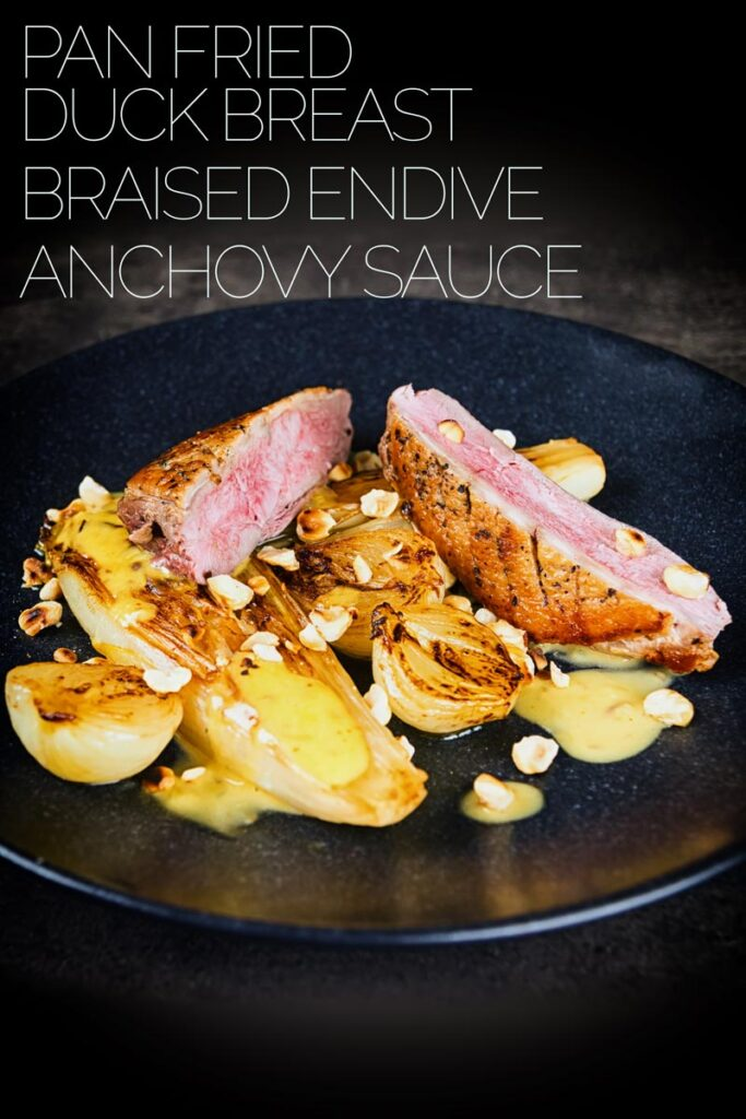 Endive not the first vegetable on this list of yummies, but this perfectly pan fried duck breast utilises the cold pan method and is bundled with some gloriously braised endive and a sexy anchovy sauce and it take less than an hour from start to finish. #endivesbraisées #duckbreastrecipes