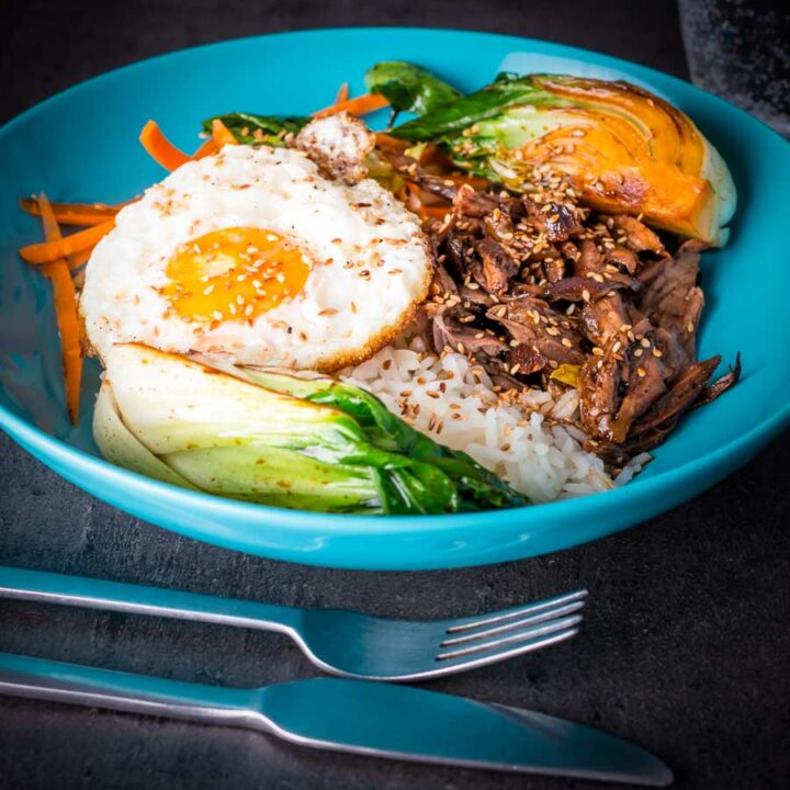 This Shredded Teriyaki Duck Donburi is a beautiful bowl of tasty goodness, slow cooked duck leg served over rice and a host of other goodies.