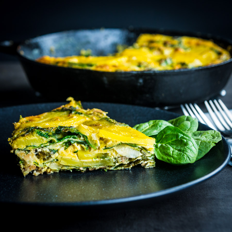 Call it what you will, potato frittata, Spanish omlette tortilla española or even tortilla de patatas you still have a great base for the most simple and frugal of meals, this one uses smoked trout and capers to push it over the edge!