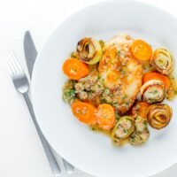 Chicken Piccata With Carrots and Leek