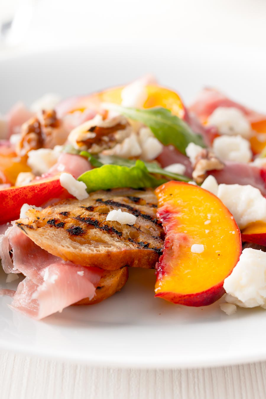 Ham, cheese and pickles are a well-trodden path for a salad the pickled peaches in this salad really sets it apart from the rest and they are borderline genius!