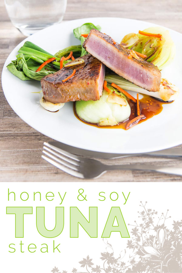 This glorious honey and soy glazed tuna steak is pimped up with a bit of chili and seared rather than cooked, it is served with some garlic braised pak choi and spring onions. #tuna #searedtuna #chili #spicy #asian #bokchoi #recipe #recipeoftheday #recipeideas