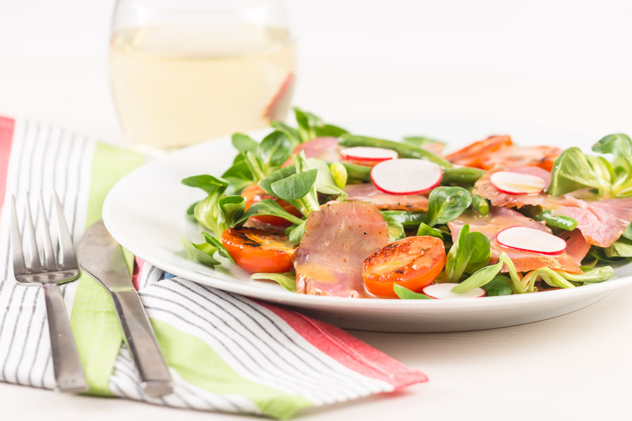 This wonderfully filling salad utilises a much underused product, smoked pork loin, wonderfully tender, smokey and perfect along side the honey and mustard dressing.