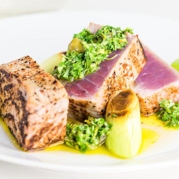 Tuna Steak With Lemon Caper Sauce