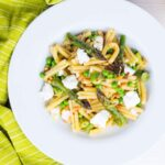 This Casarecce Pasta is a pasta recipe loaded with the flavours of spring, the sweetness of peas and asparagus are offset by light and salty feta cheese. Of course there is a splash of chili and lemon too!