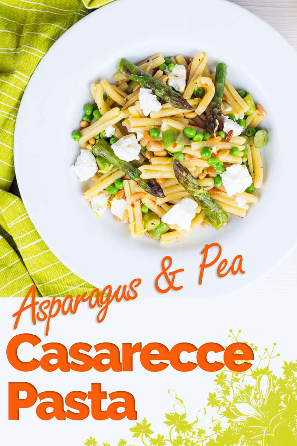 This Casarecce Pasta is a pasta recipe loaded with the flavours of spring, the sweetness of peas and asparagus are offset by light and salty feta cheese. Of course there is a splash of chili and lemon too! #pasta #pastarecipe #springrecipe #springfood #italianfood #recipe #recipeoftheday #recipeideas