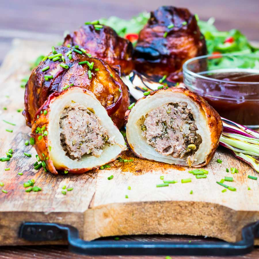 Bacon Wrapped Grilled Stuffed Onions Krumpli