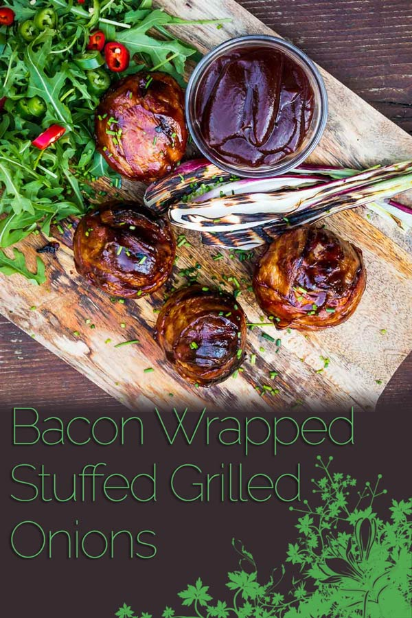 These bacon wrapped grilled stuffed onions are insanely good, a perfect beef meatball stuffed inside an onion, then wrapped in bacon. Grilled to perfection then glazed in BBQ sauce! #grilling #grilledfood #grillingrecipes #BBQ #recipe #recipeideas #recipeoftheday