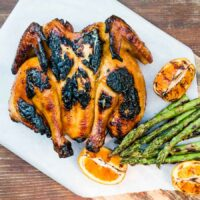 Grilled Spatchcock Chicken With Orange Marmalade Glaze